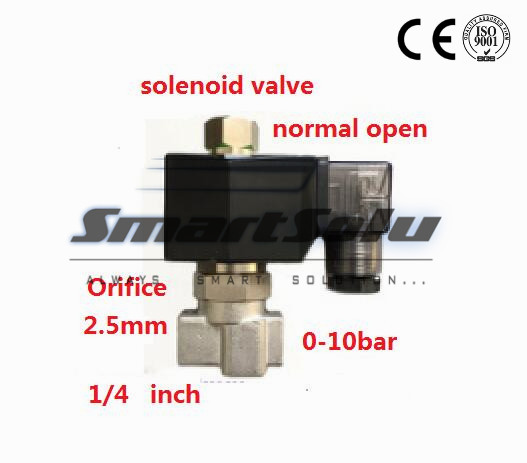 ФОТО Free shipping 2 way stainless steel water normally open solenoid valve ss 1/4