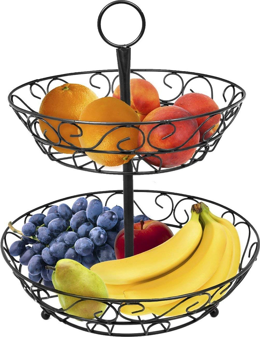 2 Tier Countertop Fruit Basket Holder & Decorative Bowl Stand Basket Perfect for Fruit, Vegetables, Snacks, Household Items