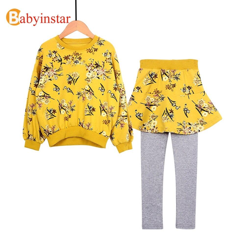 Boutique chica Floral traje niño niña flor ropa establece algodón Sweatershirts Tops + Culottes ocasionales 2 piezas traje