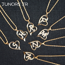 Initials Crystal Letter Alphabet Hearts necklace women Copper Love Statement Necklace For Women fashion