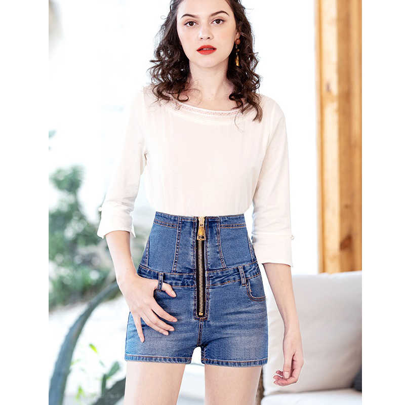 Black High Waist Zipper Denim Shorts Female 2019 Summer New Casual Sexy Shorts Jeans Women Denim Shorts Slim Hip Plus Size S-6XL