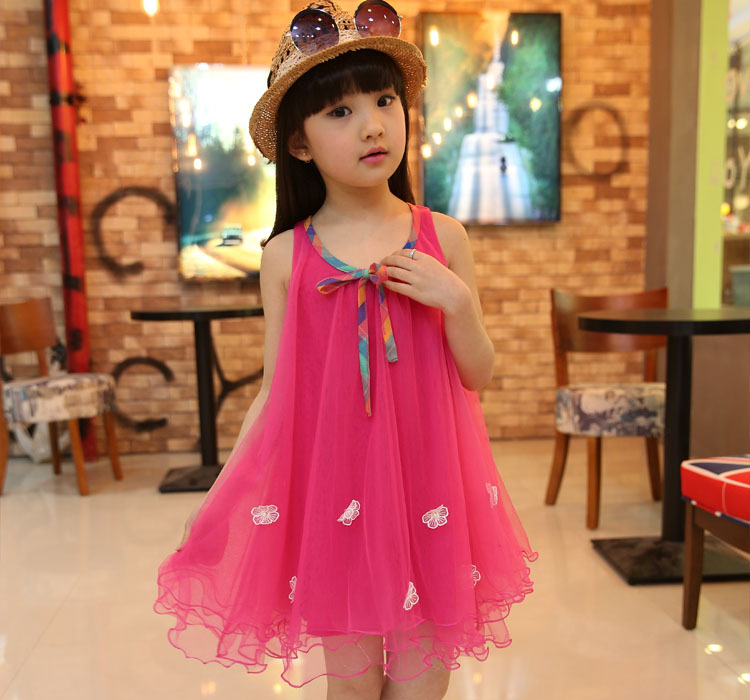 2016 Summer Girls Pleated Chiffon One-Piece Dress With Paillette Collar Children Colthes For Kids Baby,gules f233555