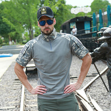 ZOGAA 2019 summer new Men tactical camouflage short-sleeved t-shirt Casual and comfortable stitching high collar men t shirt 3XL
