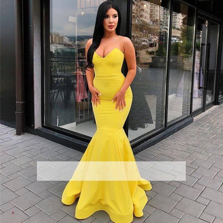 Yellow Robe De Soiree 2019 Mermaid V-neck Sexy Elegant Plus Size Long   Prom     Dresses     Prom   Gown Evening   Dresses