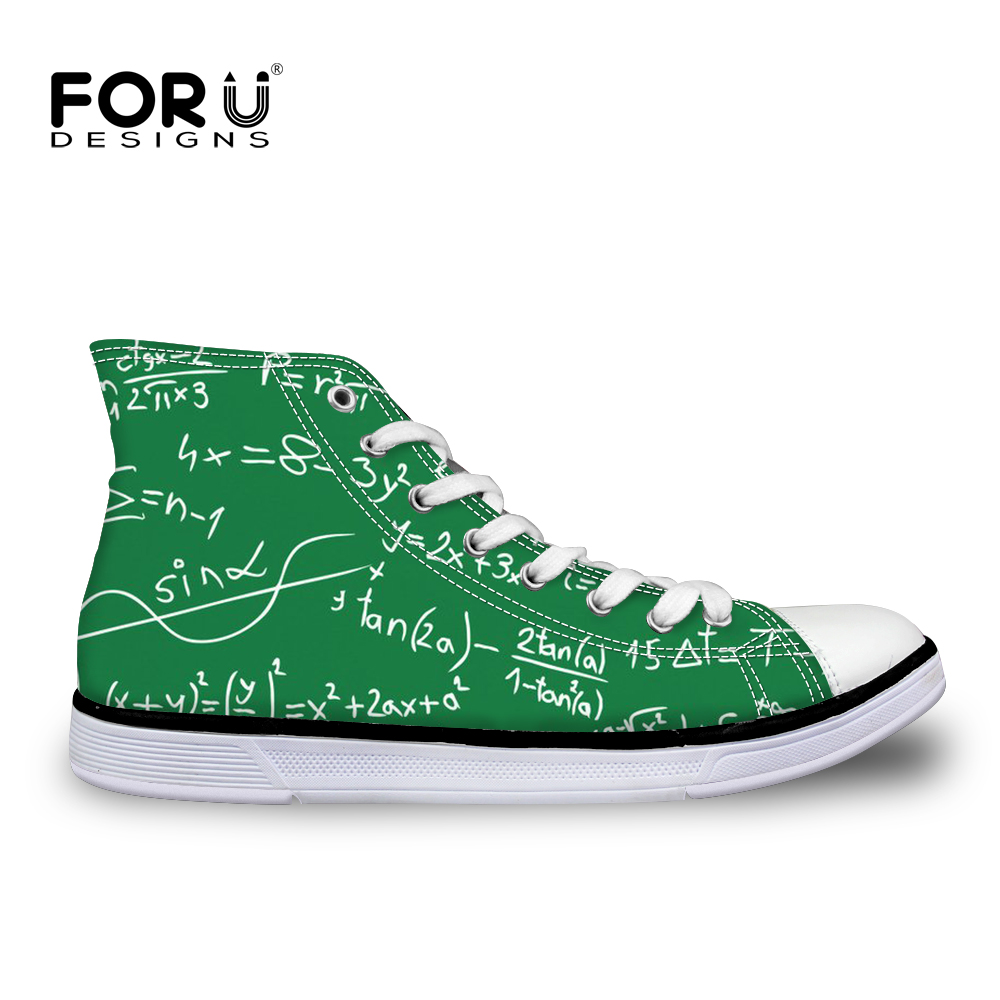 FORUDESIGNS Autumn Men s Shoes Mathematics Pattern Sneakers For Teen Boys Green Vulcanized Shoes Cool Flats