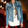 Mulheres moda Jeans Jaqueta Jeans de Manga Comprida Casaco Curto Fino Outerwear Casuais