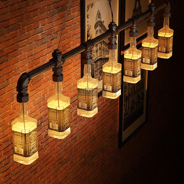 Jack Daniels Bottle Chandelier Lighting Industrial Water Pipe Vintage Bar Decorative Lights Fixture Beer