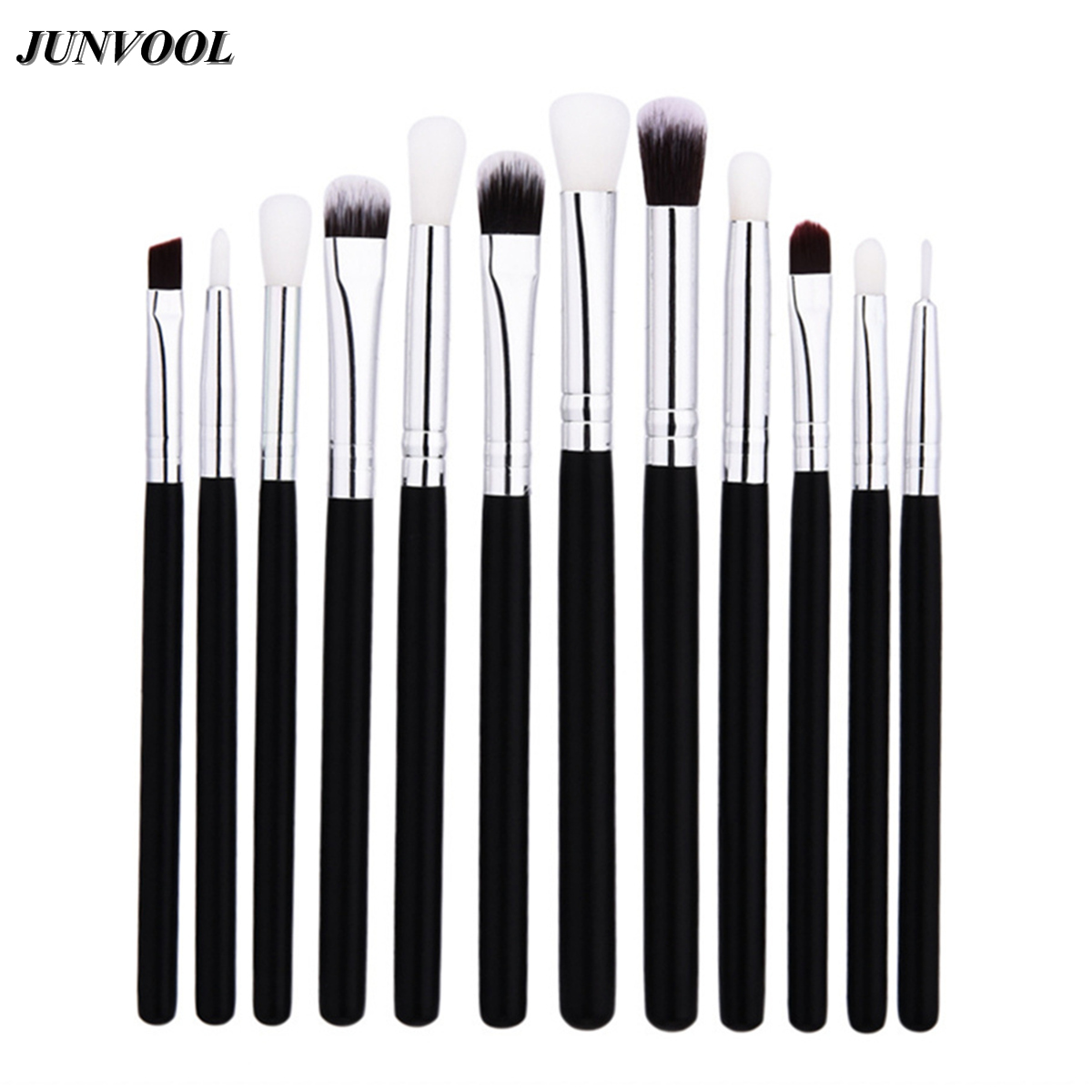 12Pcs Eye Makeup Brushes Set Professional Black Silver Cosmetics Eyeliner Eyeshadow Make Up Tools Beauty Pencil Brush Kits 22pcs black makeup brushes set eyeshadow