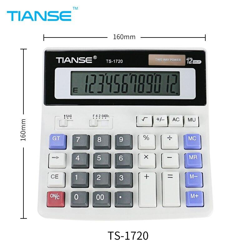 TIANSE Solar Calculator 12 Digit LCD Screen Mathematic Computer font b Battery b font Electronic Power