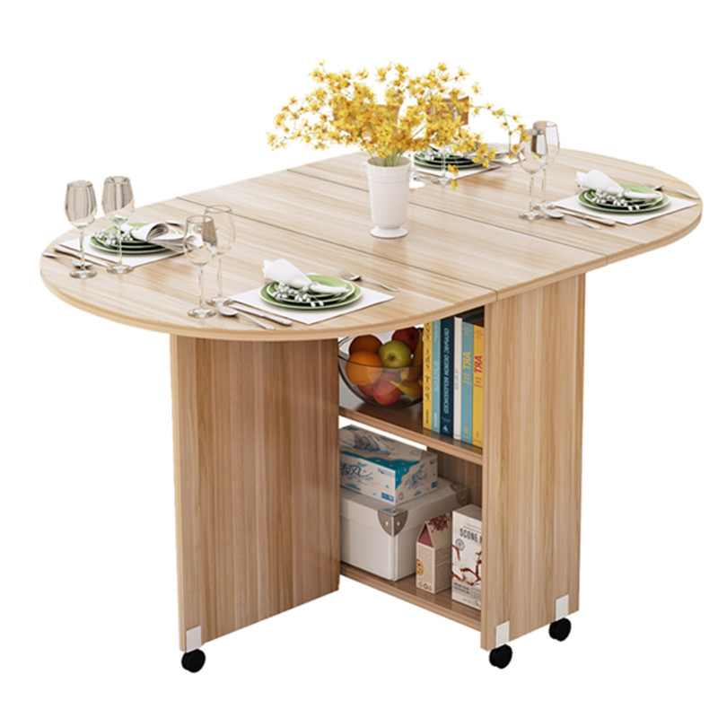 Us 408 0 49 Off Folding Movable Dining Table With Multidirectional Wheel Wooden Kitchen Storage Cabinet Portable Mesa Centro Elevable In