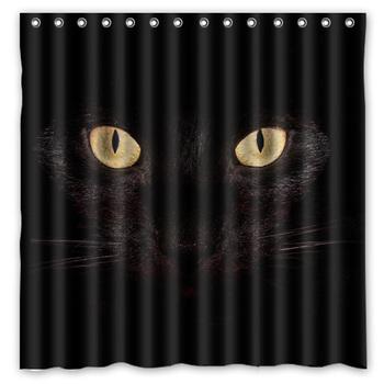 2016 gorąca sprzedaż! Halloween czarny kot tło wodoodporny poliester prysznic i zasłona wanny (180X180 CM) tanie i dobre opinie HUOSOOYUN Europejska Ekologiczne personalized High Wide
