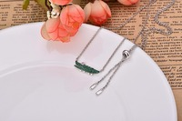 High Quality 925 Sterling Silver Inlaid Rhinestone Green Crocodile Pendant Necklace For Women
