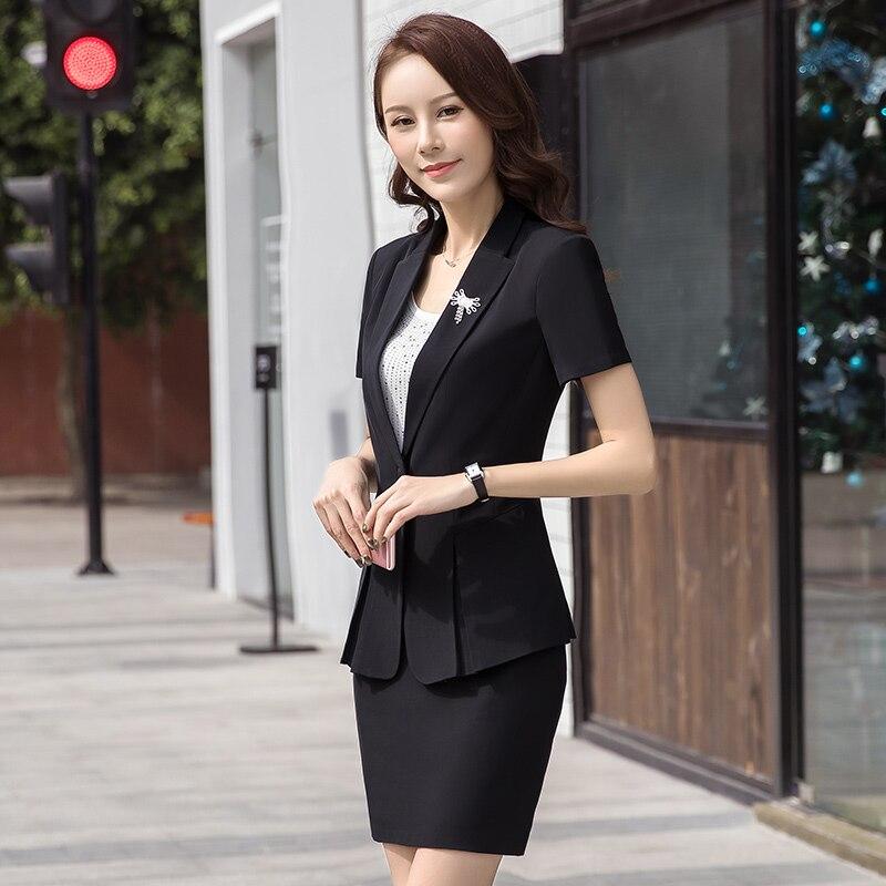 64a23e7bf Mujeres Blazer y pantalones o falda manga corta femenina Oficina ropa  elegante temperamento sólido negro trajes formales para trabajar en  chaqueta de ...