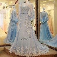 Boho Elfenbein Blau Brautkleider Vestido de Noiva 2018 Spitze Braut kleider A Line Plus Size Brautkleider mit Cape Perlen Gelinlik