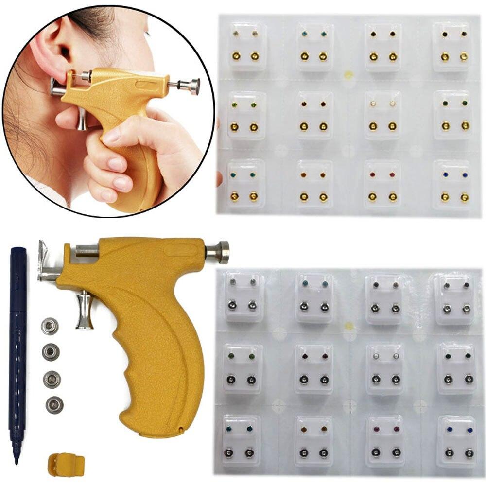 Profissional Universal Arma Perfuração Da Orelha Ear Piercing Instrumen Prata Birthstone Ouro Jóia Da Orelha Lip Hélice Do Parafuso Prisioneiro Brinco Jóias
