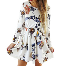 Women Printing Pleated Casual Dresses Female Long Sleeve Floral Bouffancy Mini Dress Sweet Embroidery Vestidos