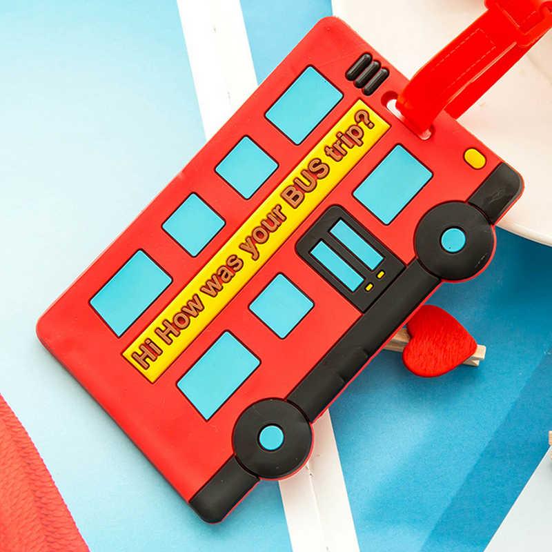 Милые аксессуары для путешествий, бирка для чемодана, мультфильм, силиконовый, имя пассажира, ID, адрес, багаж, ярлык, идентификатор, бирки, брелок