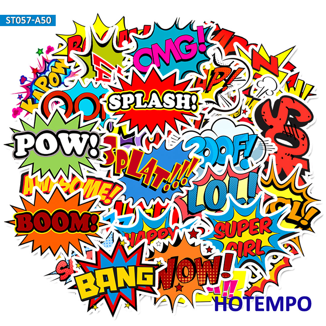 50pcs BAM POW WOW BOOM BANG OMG OOP Clouds From Explosion Stickers For Mobile Phone Laptop Luggage Case Skateboard Anime Sticker
