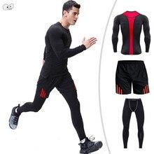 42d2cea23c 2019 Camisa de Manga Longa + Short + Legging 3 Peças Homens Terno Do Esporte  Dry