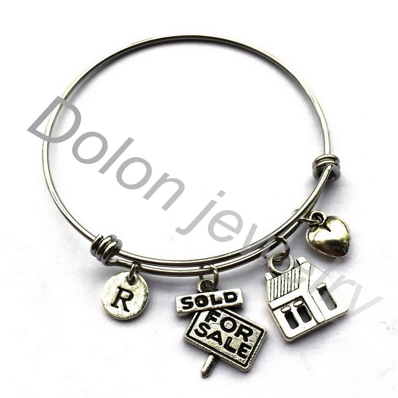 Sold For Sale House Real Estate Agent Bracelet-Realtor Charm Expandable Wire Bangle Gifts