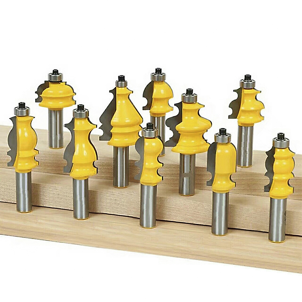10Pcs 1 2 Inch Shank Carbide Table Edge Hand Rail Molding Router Bit Set Milling Cutter