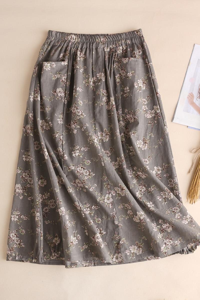 Vestido Todo Marrón Lino Del Oscuro Cómodo Floral gris Las Elástico De fósforo Verano Impresión Faldas Mujeres qIWOHwSP
