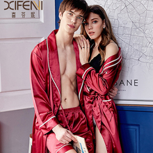 Silk Sleeping Robes Female High Quality Faux Couple Sleepwear Man Woman New Style Silky Bathrobes Kimono X9955