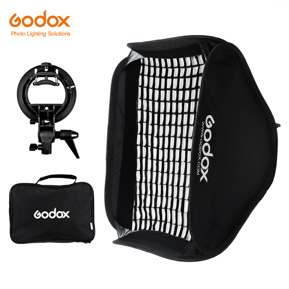Godox Pro réglable 80 cm x 80 cm Flash boîte souple nid d'abeille Kit de grille avec support de Type S support de montage Bowen pour Flash Speedlite-in Softbox from Electronique    1