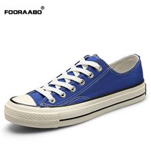 Fooraabo Brand Summer Men Canvas Shoes Fashion Retro Lace-up Casual Flats Shoes Breathable Spring Shoes Men 2017 Black Blue