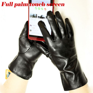 Image 3 - Leather goatskin gloves womens thin touch screen straight style unlined 100% sheepskin gloves outdoor driving driver gloves