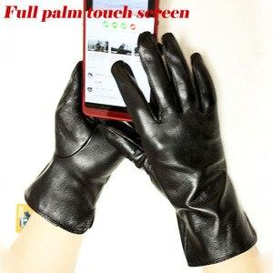 Image 3 - Кожаные перчатки goatskin, женские тонкие перчатки с сенсорным экраном, прямые, без подкладки, 100% овечья кожа, уличные перчатки для вождения