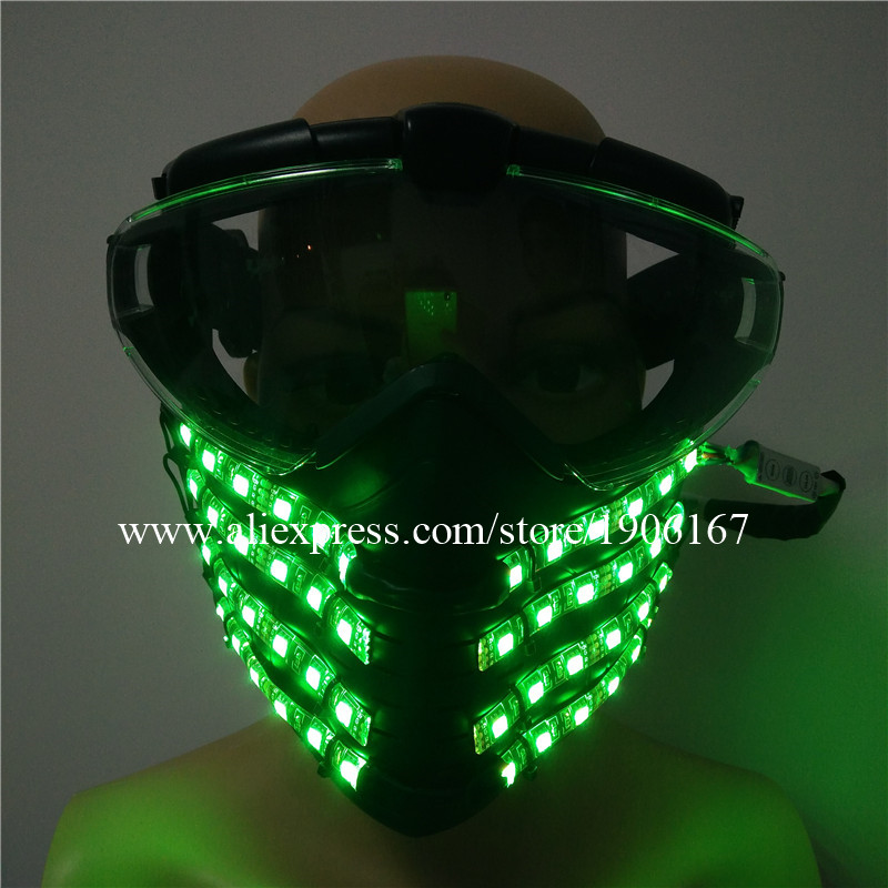 Coloré LED lumineux conduite équitation masques protection du visage clignotant brillant masque lumineux héros DJ fête Halloween anniversaire masques