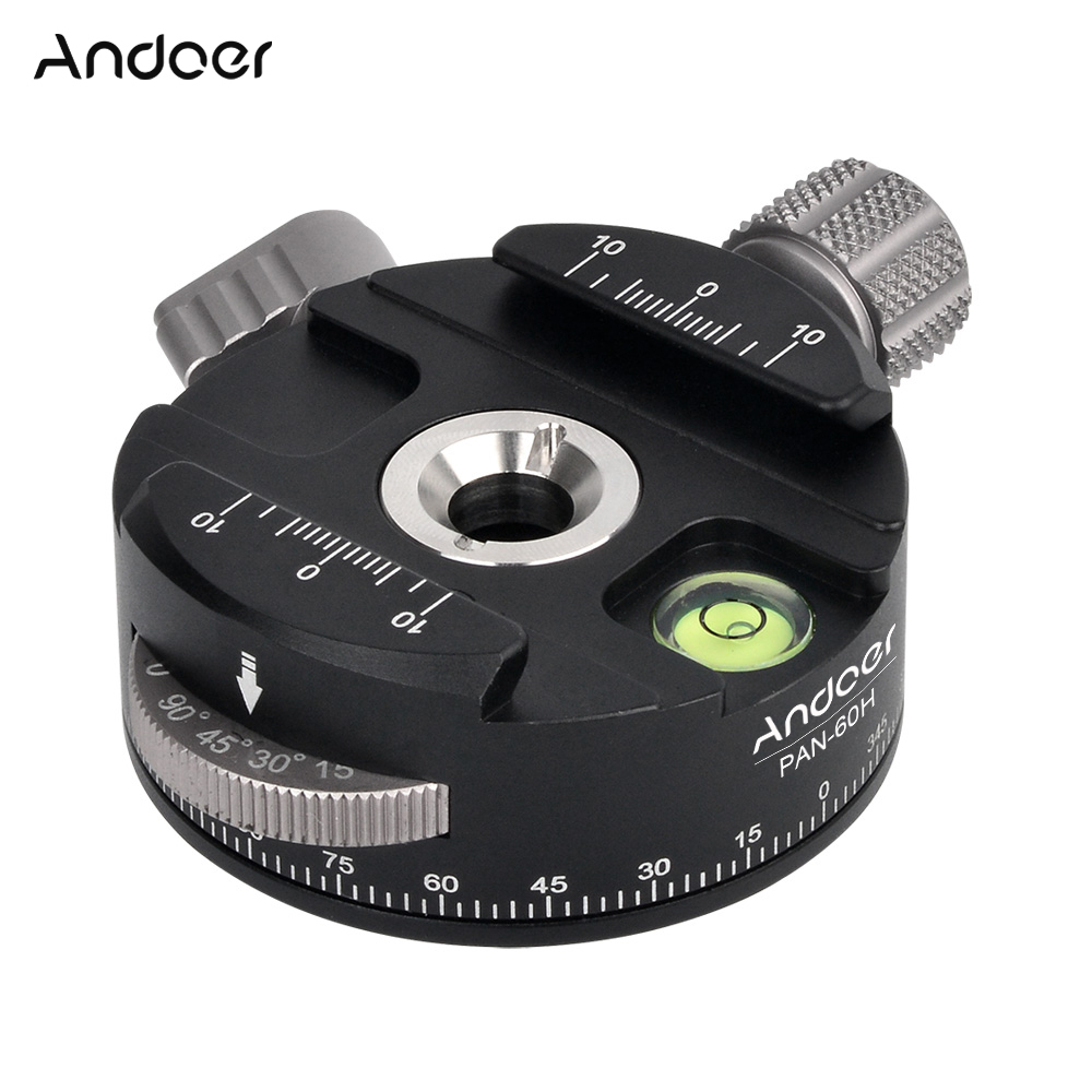 Andoer high quality Tripod Head PAN 60H Panoramic Ball Head Tripod Head with Indexing Rotator AS