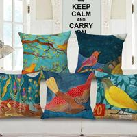 Free Shipping Custom Flying Bird Painting Decorative Cotton Linen Throw Pillow Home Sofa Chair Seat Cushion
