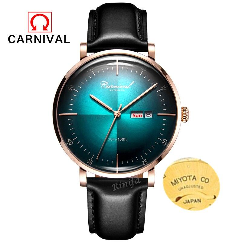 Carnival Mechanical watch men MIYOTA movement Luxury brand Men Watches Clock leather strap reloj hombre erkek