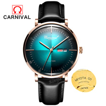 Carnival Mechanical watch men MIYOTA movement Luxury brand Men Watches Clock leather strap reloj hombre erkek kol saati relogio carnival brand men wristwatches fashion luxury leather strap watch unique design style waterproof multifunction relogio reloj