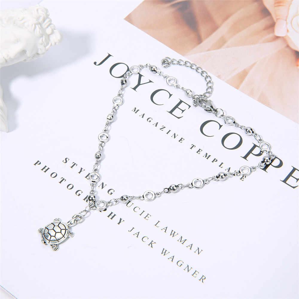 SAUVOO kobiety moda biżuteria stop Turtle wisiorek obrączki ze stali nierdzewnej zwierząt Charm bransoletki Trendy boso piaszczysta bransoletki
