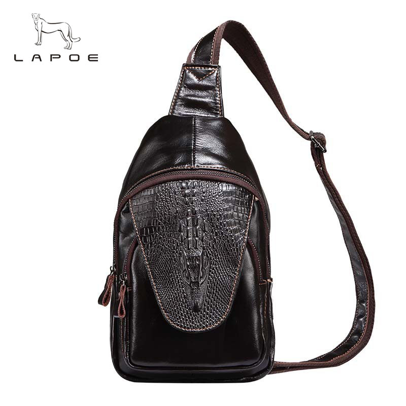 New Alligator Fashion Style Retro Men Genuine Leather Chest Bag Chest Pack Small Crossbody Shoulder Bag Men Messenger Bags car 50w 5600lm led headlight canbus kit for 9006 hb4 low beam xenon white replace hid 9005 hb3 9006 hb4 h7 h8 h11 available