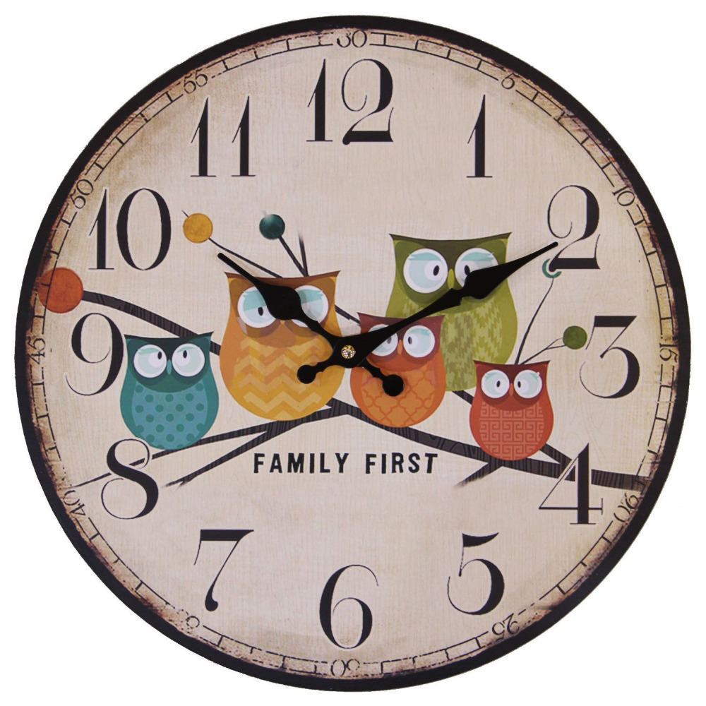 US $23 99 14 Inch Cute Wall Clock Modern Family Animated Cartoon Decoration Wood Clock Painted Owl Lovely Style Silent Quartz Movement Movement
