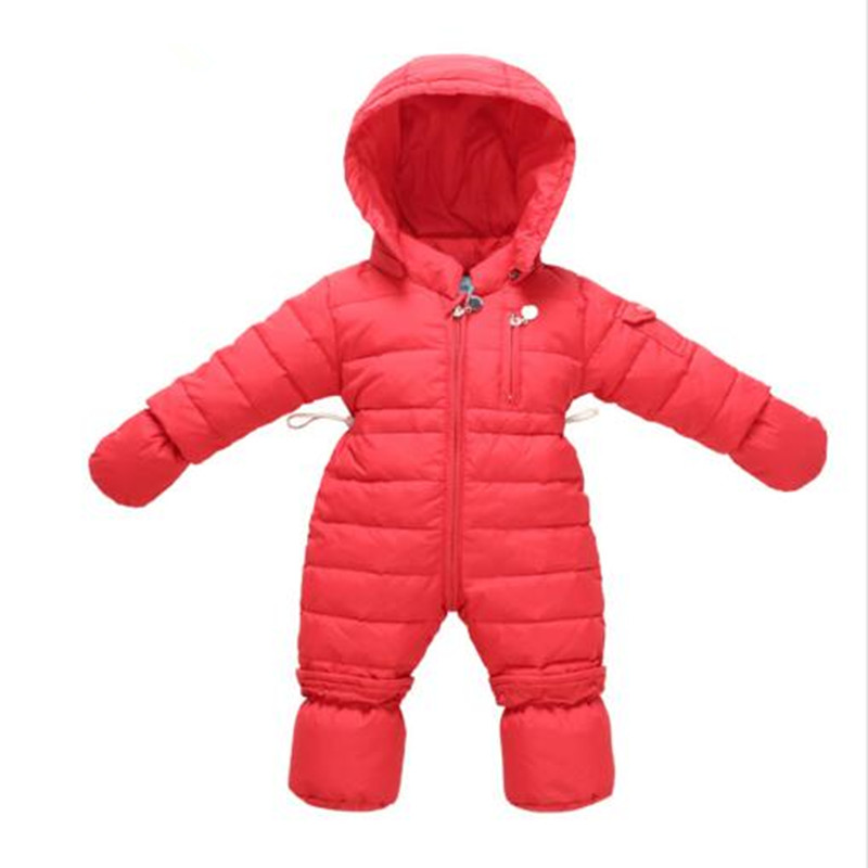 0-12M Russia Winter Kids Boys Clothing Wind Fabrics + White Duck Down Infant Costume Warm Jumpsuit Boy Jacket Baby Overalls