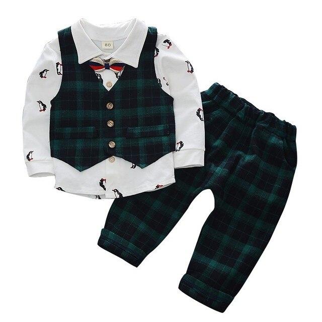 62657dc8f Bobora Baby Boy Children Clothing Sets Gentleman Long Sleeve T ...