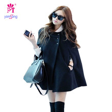 2016 neue Koreanische Mode frauen Tweedmantel Batwing Wool Poncho Mode Mantel Lose Cape Schwarz Outwear 125(China)
