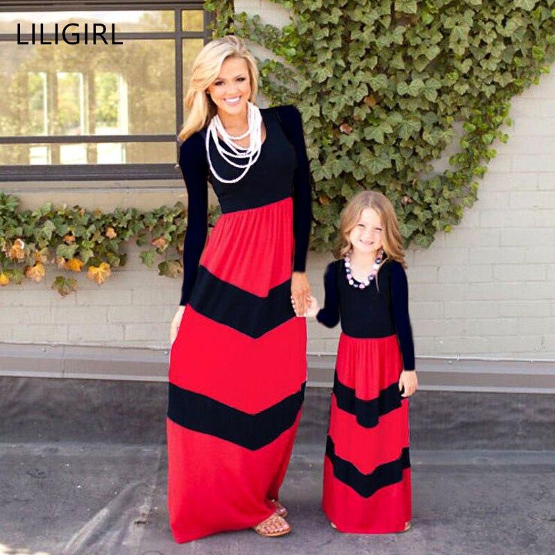 Liligirl Lange-mädchen Prinzessin Kleid 2019 Neue Mama Und Mich Familie Aussehen Mutter Tochter Kleider Für Familie Passenden Kleidung Outfits