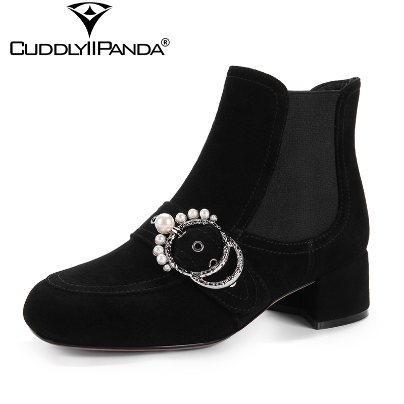 CuddlyIIPanda 2018 Pearl String Bead Women Chelsea Boots Luxury Design Rhinestone Ankle Boots Leather Crystal Martin Boots