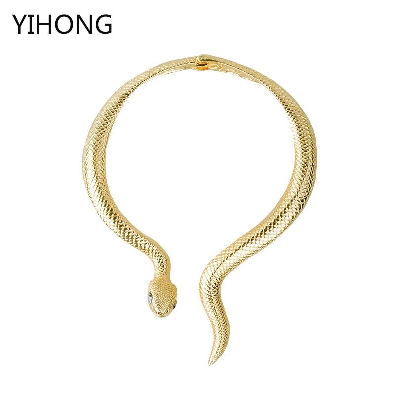 2017 Neue Ankunft Sexy Luxus übertrieben Goldene Schlange Halskette Lange Partei Halskette Mode Colar Schmuck Collares Für Frauen Durchblutung Aktivieren Und Sehnen Und Knochen StäRken