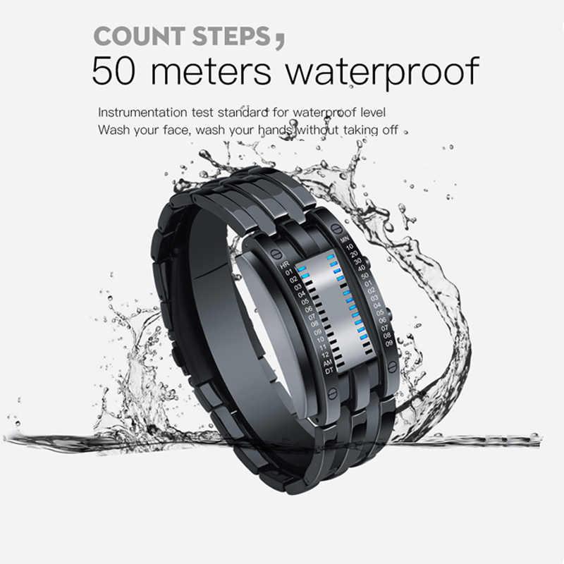 SKMEI Montre أوم الإبداعية تصميم الرجال ساعة رقمية الفولاذ المقاوم للصدأ حزام مقاوم للماء الذكور ساعة اليد Relógio دي homem