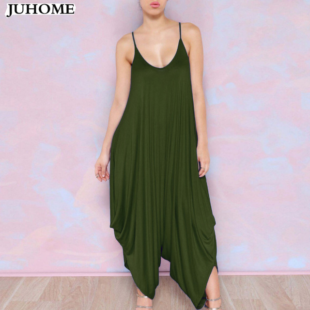 Summer Harem Romper Long Pants Jumpsuit Coveralls Women's Playsuit Spaghetti Strap Deep V Neck Plus Size Clubwear Sexy Clothes by Juhome