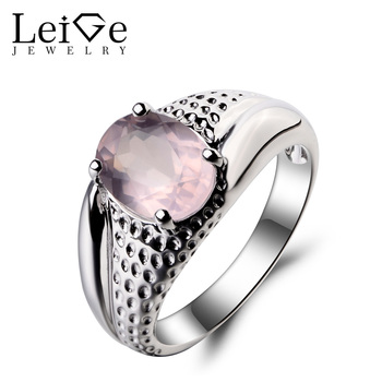 Leige Jewelry Natural Pink Quartz Ring Cocktail Party Ring Oval Cut Pink Gemstone Genuine Solid 925 Sterling Silver Ring Gifts