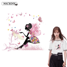 Nicediy Beautiful Butterfly Girl Patch Iron on Heat Transfer On Clothes DIY Thermal Printed Sticker Accessory Applique