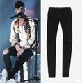 TOP men's designer clothes famous brand slp ankle zipper justin bieber rockstar black distressed ripped skinny fear of god jeans